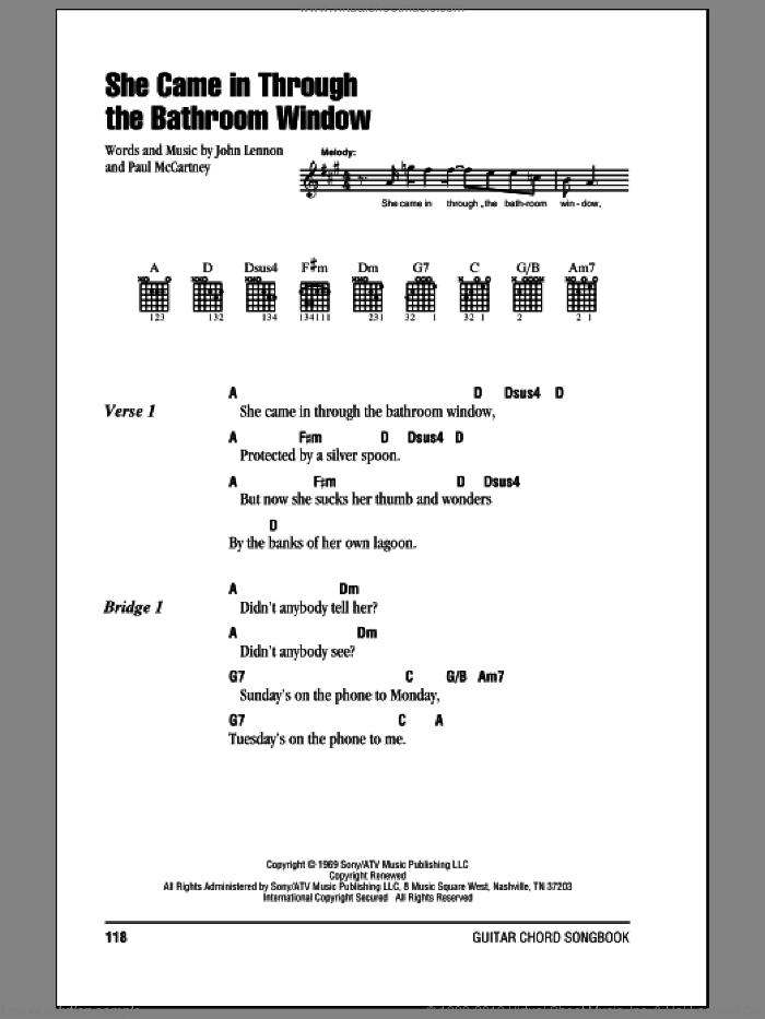 She Came In Through The Bathroom Window sheet music for guitar (chords) by The Beatles, Joe Cocker, John Lennon and Paul McCartney, intermediate skill level