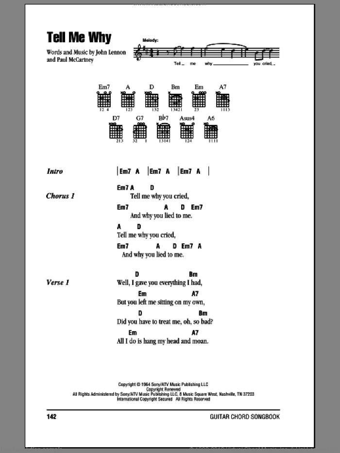 Tell Me Why sheet music for guitar (chords) by The Beatles, John Lennon and Paul McCartney. Score Image Preview.