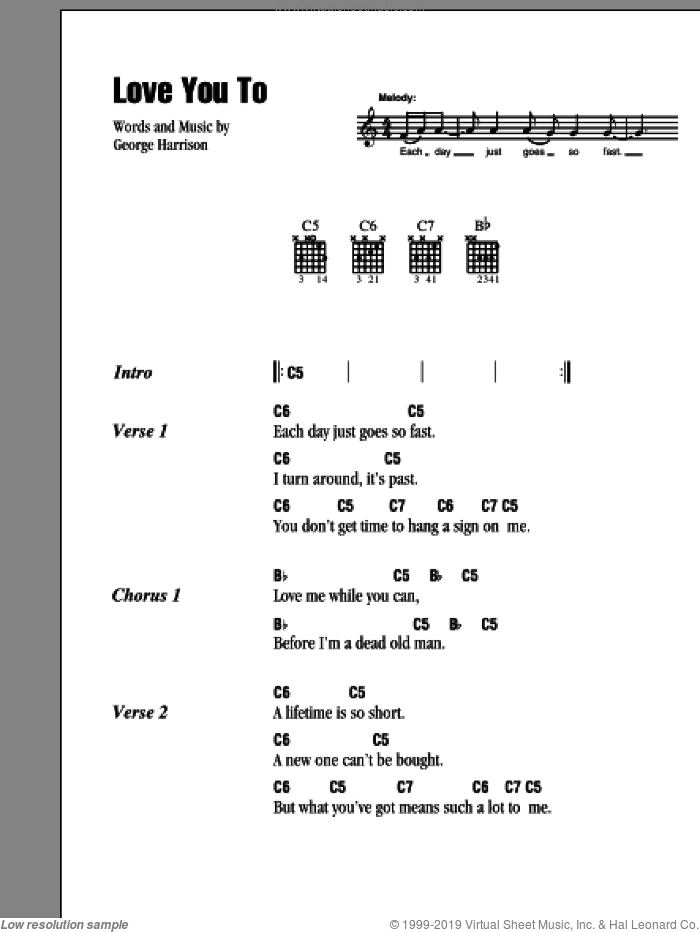 Love You To sheet music for guitar (chords) by George Harrison and The Beatles. Score Image Preview.