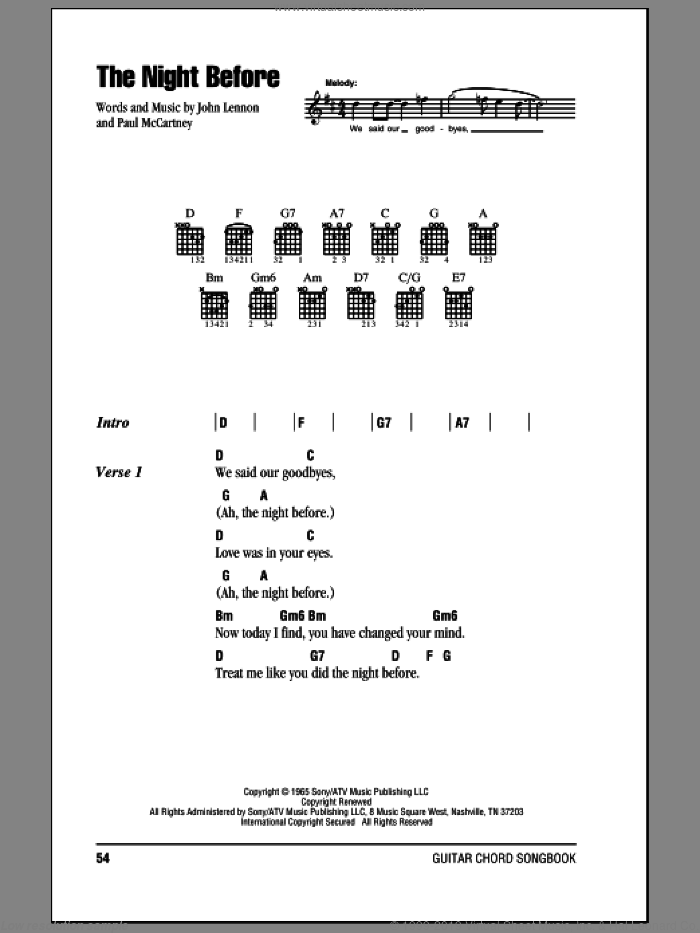 The Night Before sheet music for guitar (chords) by Paul McCartney