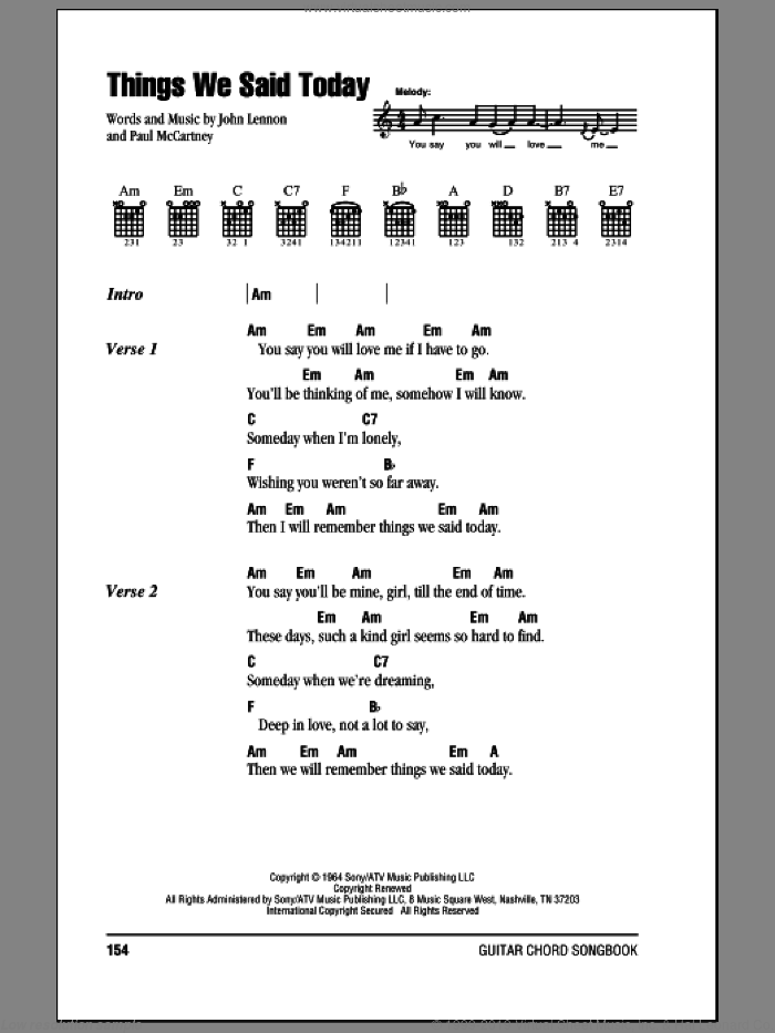 Things We Said Today sheet music for guitar (chords) by Paul McCartney, The Beatles and John Lennon. Score Image Preview.