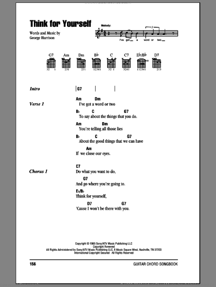 Think For Yourself sheet music for guitar (chords) by George Harrison and The Beatles. Score Image Preview.