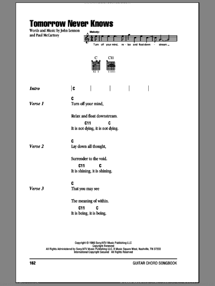 Tomorrow Never Knows sheet music for guitar (chords) by The Beatles, John Lennon and Paul McCartney. Score Image Preview.