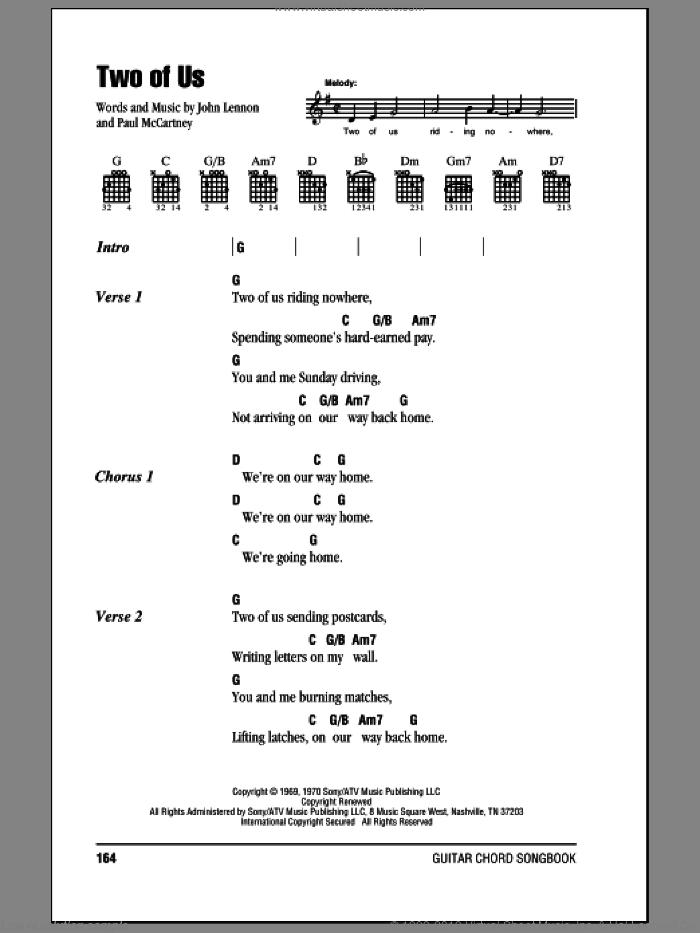 Two Of Us sheet music for guitar (chords) by Paul McCartney, The Beatles and John Lennon. Score Image Preview.