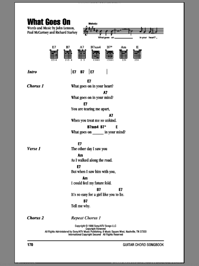 What Goes On sheet music for guitar (chords) by The Beatles, John Lennon, Paul McCartney and Ringo Starr. Score Image Preview.