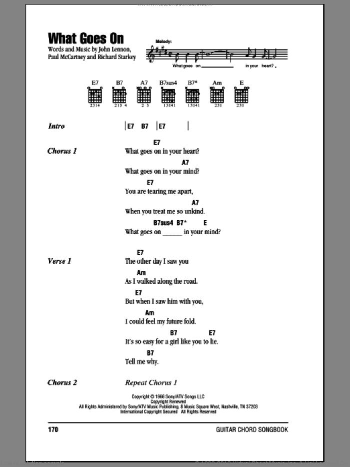 What Goes On sheet music for guitar (chords) by The Beatles, John Lennon, Paul McCartney, Richard Starkey and Ringo Starr, intermediate skill level