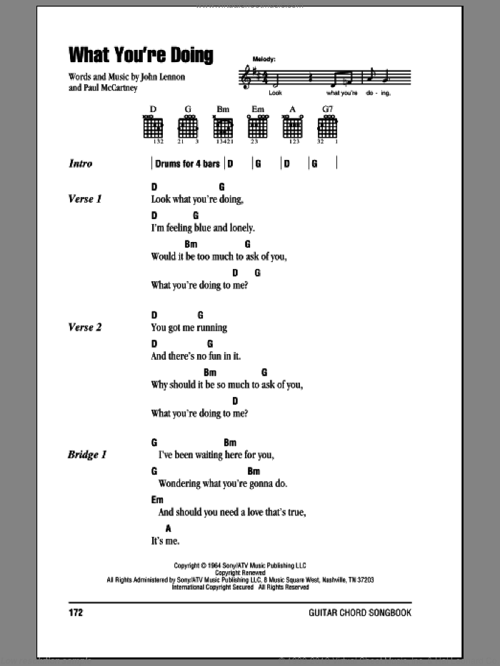 What You're Doing sheet music for guitar (chords) by The Beatles, John Lennon and Paul McCartney. Score Image Preview.