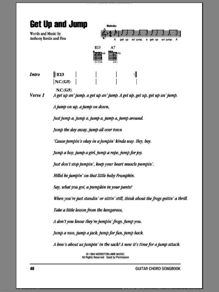 Get Up And Jump sheet music for guitar (chords) by Flea