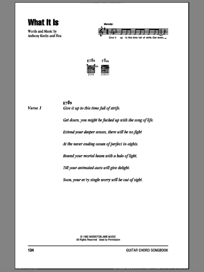 What It Is sheet music for guitar (chords) by Red Hot Chili Peppers, intermediate guitar (chords). Score Image Preview.