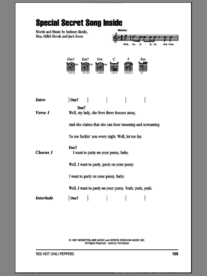 Special Secret Song Inside sheet music for guitar (chords) by Jack Irons, Red Hot Chili Peppers and Flea. Score Image Preview.