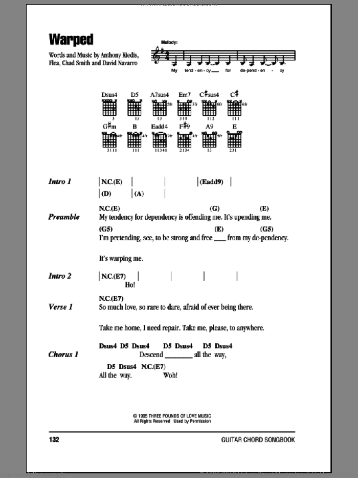 Warped sheet music for guitar (chords) by Red Hot Chili Peppers. Score Image Preview.