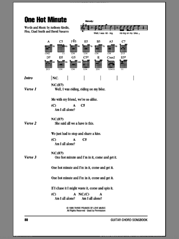One Hot Minute sheet music for guitar (chords) by Flea, Red Hot Chili Peppers and David Navarro. Score Image Preview.