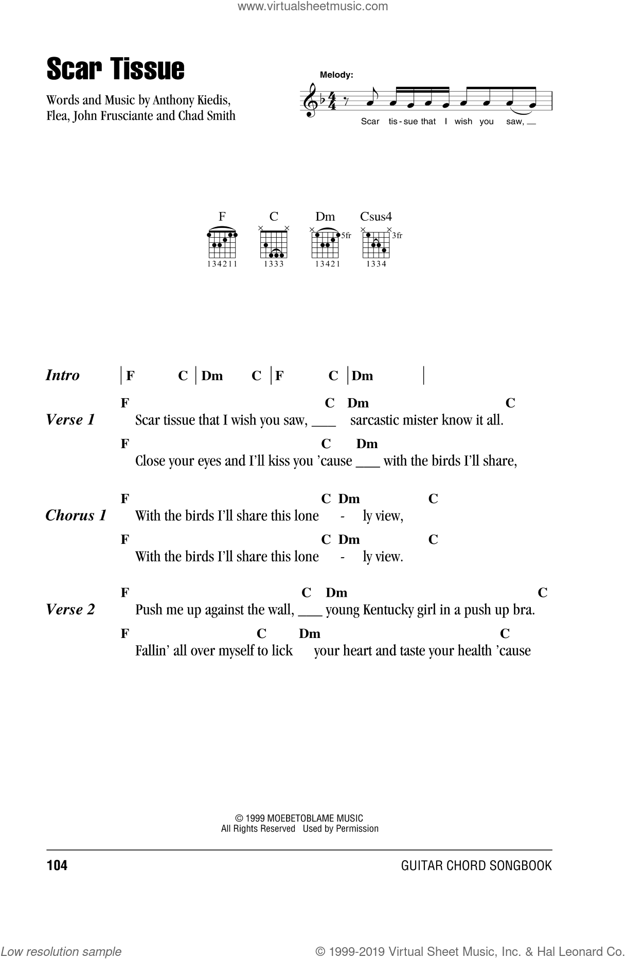 Scar Tissue sheet music for guitar (chords) by Red Hot Chili Peppers, Anthony Kiedis, Chad Smith, Flea and John Frusciante, intermediate skill level