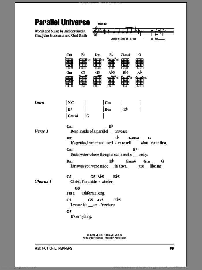 Parallel Universe sheet music for guitar (chords) by Red Hot Chili Peppers, intermediate guitar (chords). Score Image Preview.