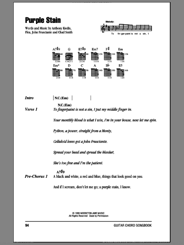 Purple Stain sheet music for guitar (chords) by Red Hot Chili Peppers, Anthony Kiedis, Chad Smith, Flea and John Frusciante, intermediate. Score Image Preview.