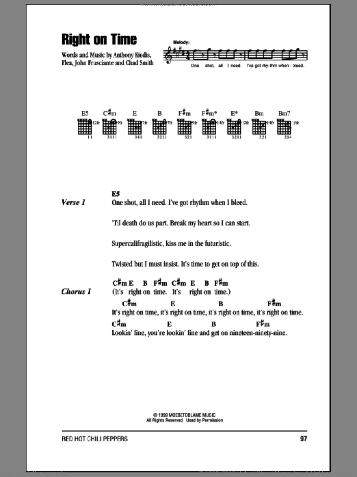 Right On Time sheet music for guitar (chords) by Red Hot Chili Peppers. Score Image Preview.