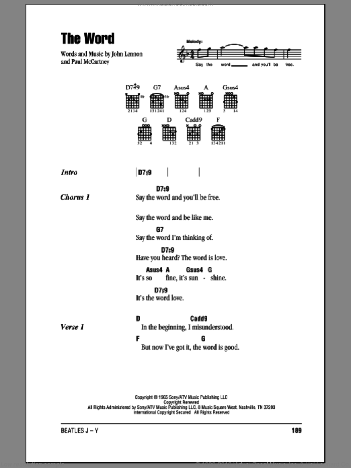 The Word sheet music for guitar (chords) by The Beatles, John Lennon and Paul McCartney, intermediate guitar (chords). Score Image Preview.
