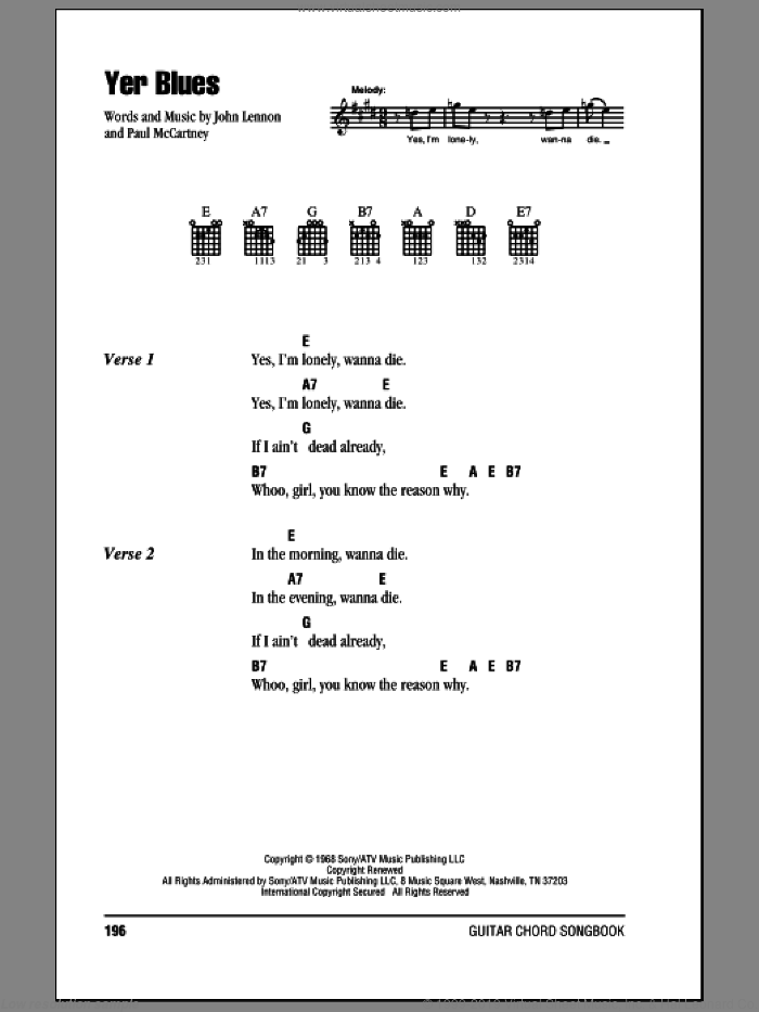 Yer Blues sheet music for guitar (chords) by The Beatles, John Lennon and Paul McCartney. Score Image Preview.