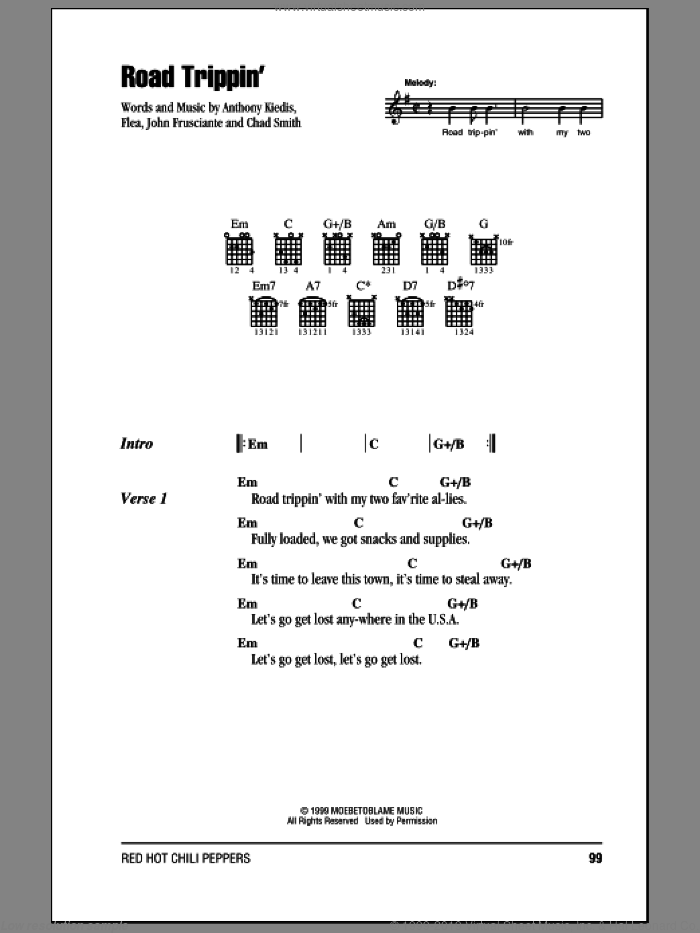 Road Trippin' sheet music for guitar (chords) by John Frusciante, Red Hot Chili Peppers and Flea. Score Image Preview.