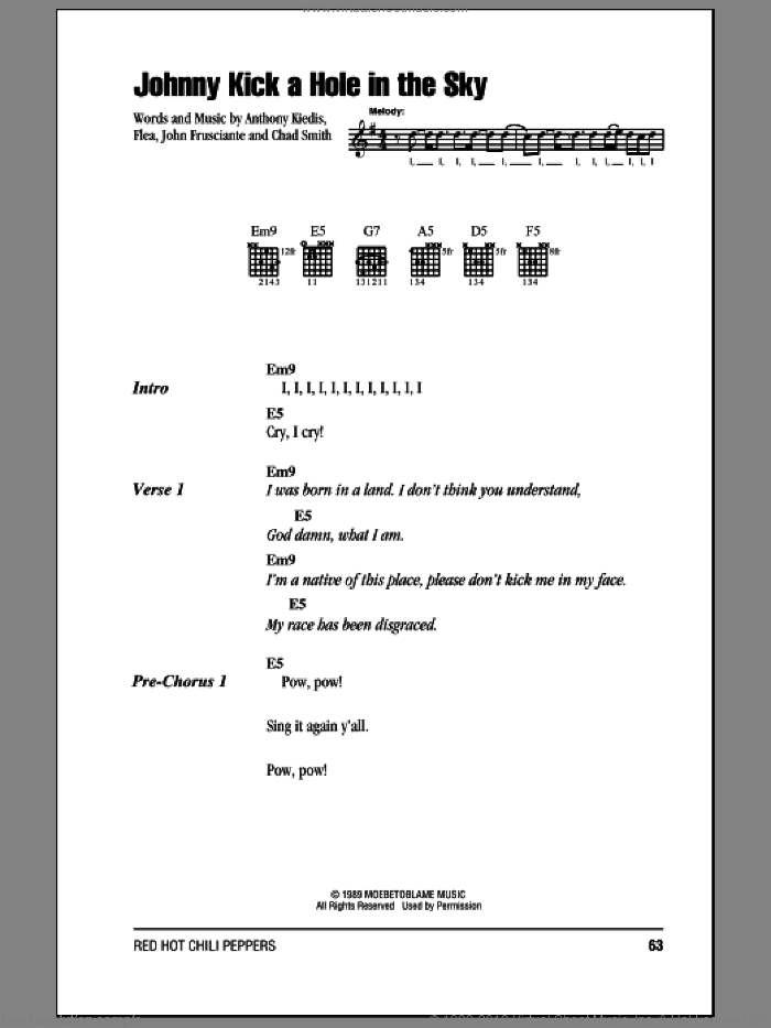 Johnny Kick A Hole In The Sky sheet music for guitar (chords) by Red Hot Chili Peppers, Anthony Kiedis, Chad Smith, Flea and John Frusciante, intermediate. Score Image Preview.