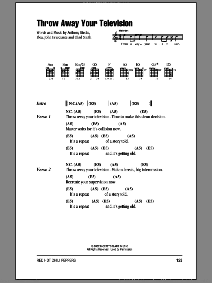 Throw Away Your Television sheet music for guitar (chords) by John Frusciante