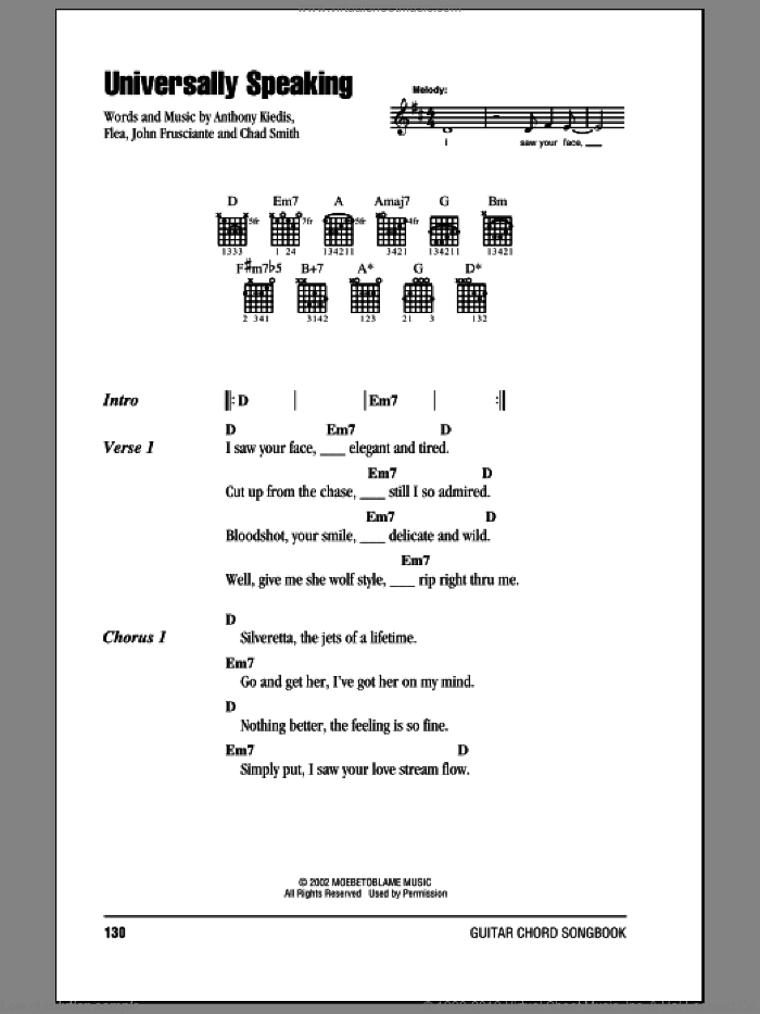 Universally Speaking sheet music for guitar (chords) by John Frusciante, Red Hot Chili Peppers and Flea. Score Image Preview.