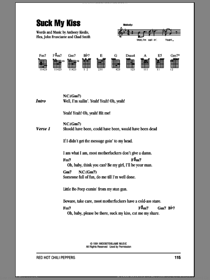 Suck My Kiss sheet music for guitar (chords) by John Frusciante, Red Hot Chili Peppers and Flea. Score Image Preview.
