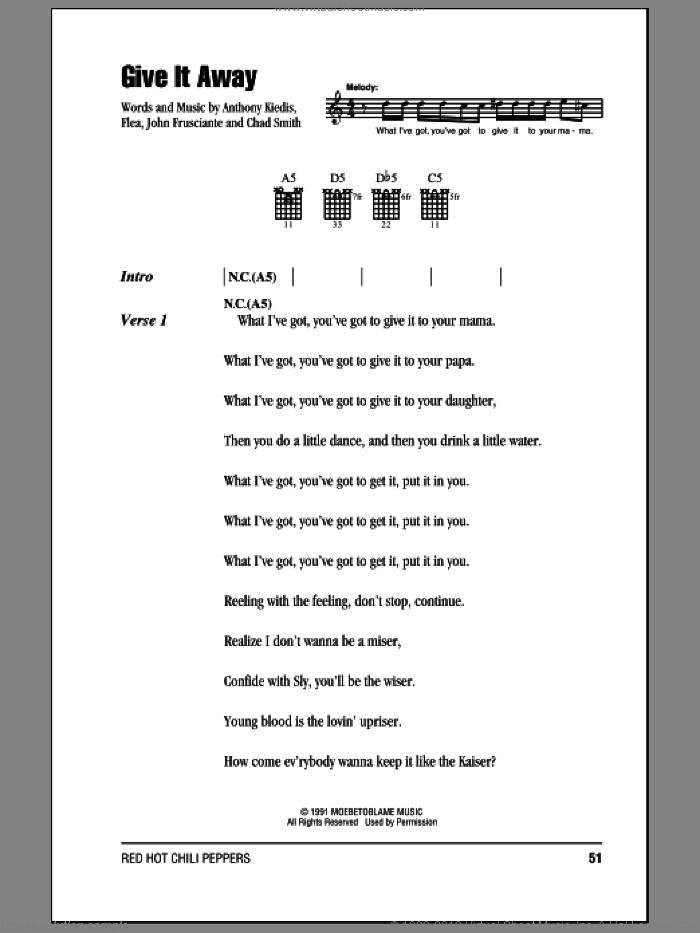 Give It Away sheet music for guitar (chords) by John Frusciante, Red Hot Chili Peppers and Flea. Score Image Preview.