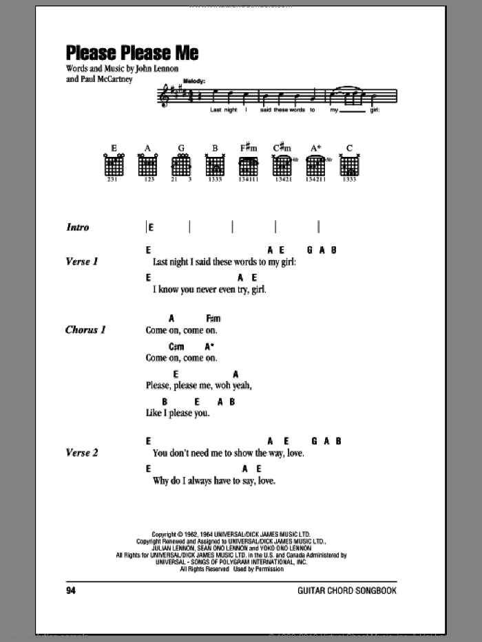 Please Please Me sheet music for guitar (chords) by Paul McCartney, The Beatles and John Lennon. Score Image Preview.