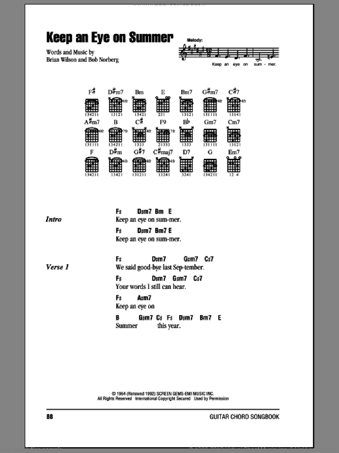 Keep An Eye On Summer sheet music for guitar (chords) by The Beach Boys and Brian Wilson, intermediate guitar (chords). Score Image Preview.