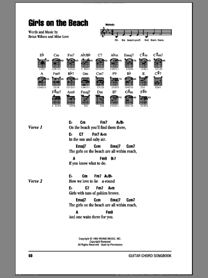 Girls On The Beach sheet music for guitar (chords) by The Beach Boys and Brian Wilson, intermediate. Score Image Preview.