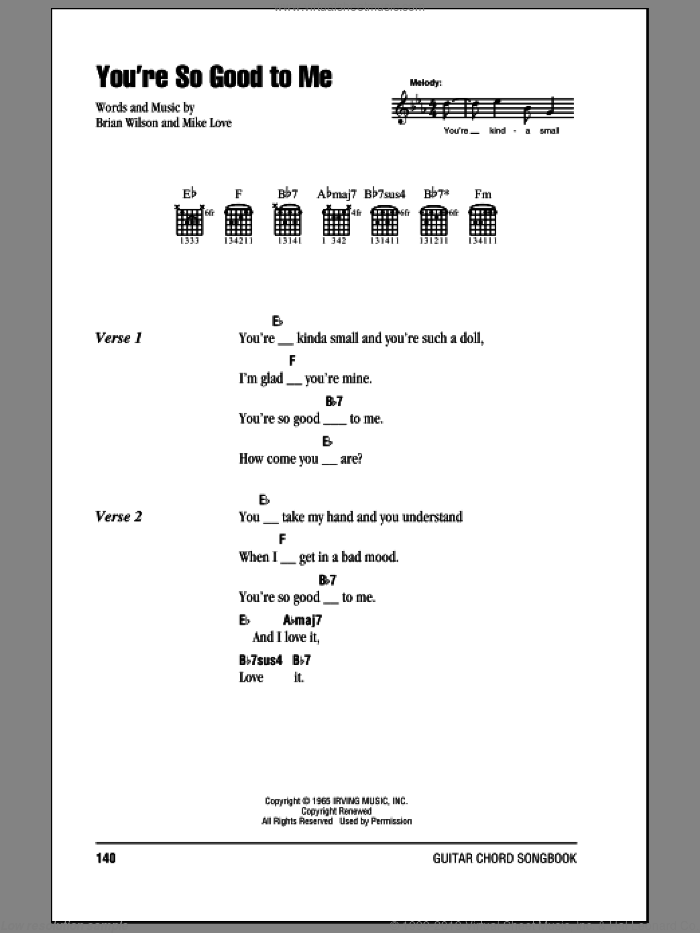 You're So Good To Me sheet music for guitar (chords) by Mike Love, The Beach Boys and Brian Wilson. Score Image Preview.