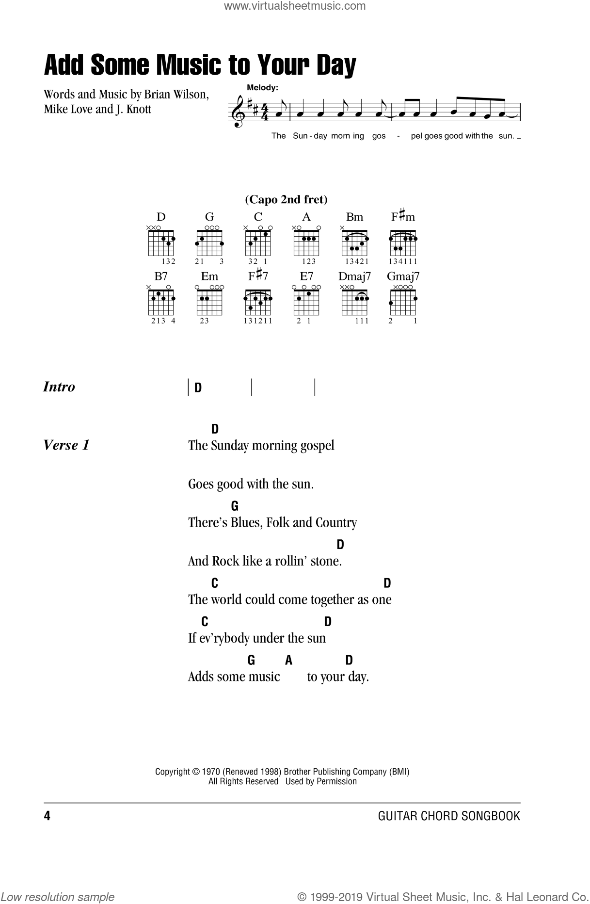 Add Some Music To Your Day sheet music for guitar (chords) by The Beach Boys, Brian Wilson, Joe Knott and Mike Love, intermediate. Score Image Preview.