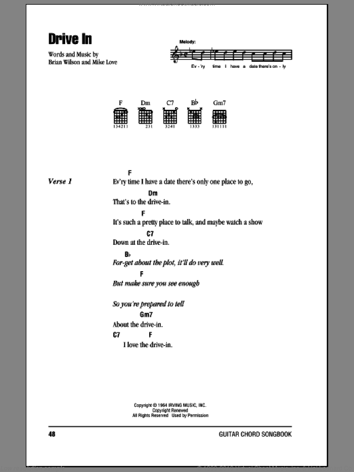 Drive In sheet music for guitar (chords) by The Beach Boys, Brian Wilson and Mike Love, intermediate skill level