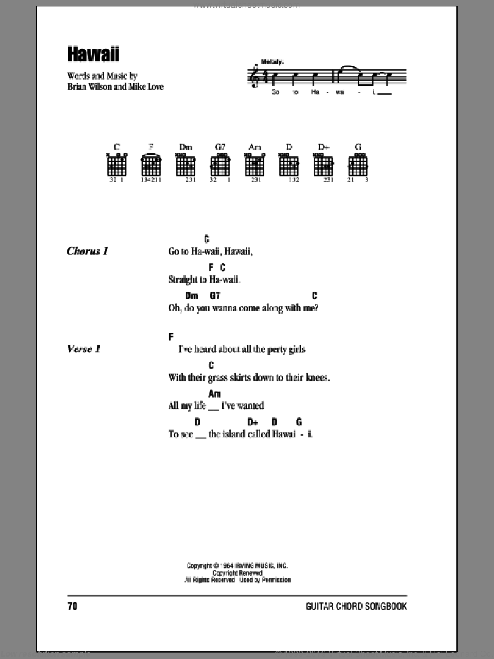 Hawaii sheet music for guitar (chords) by The Beach Boys and Brian Wilson, intermediate guitar (chords). Score Image Preview.