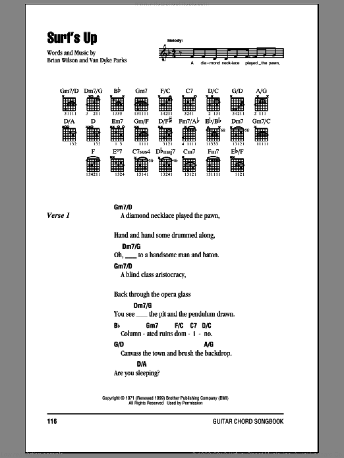 Surf's Up sheet music for guitar (chords) by The Beach Boys, Brian Wilson and Van Dyke Parks, intermediate. Score Image Preview.