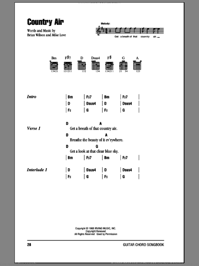 Country Air sheet music for guitar (chords) by The Beach Boys and Brian Wilson. Score Image Preview.