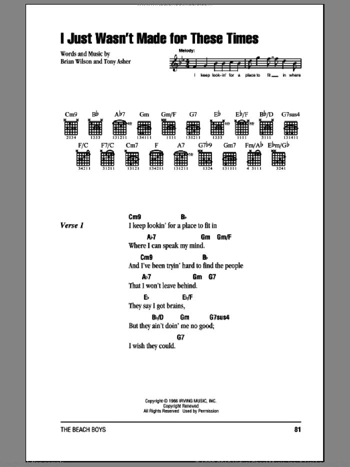 I Just Wasn't Made For These Times sheet music for guitar (chords) by Tony Asher