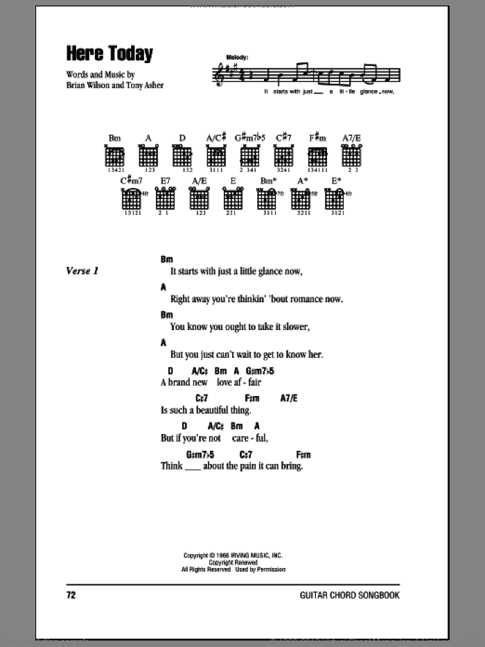 Here Today sheet music for guitar (chords) by Tony Asher, The Beach Boys and Brian Wilson. Score Image Preview.