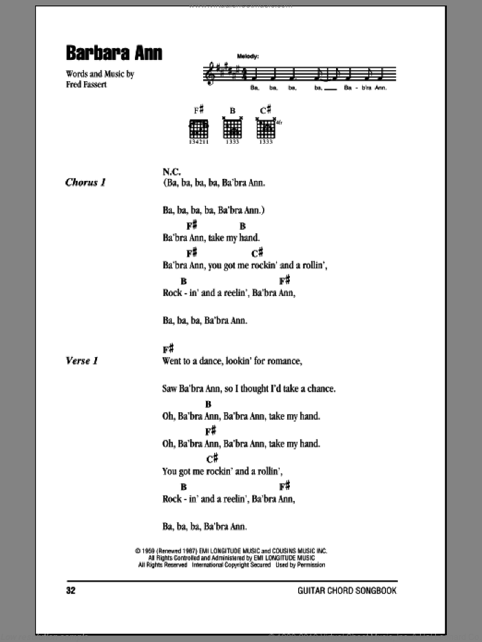 Barbara Ann sheet music for guitar (chords) by The Beach Boys and The Regents. Score Image Preview.