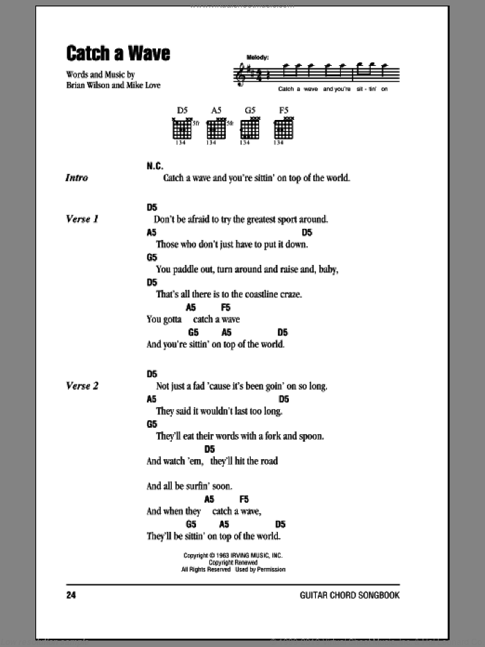 Catch A Wave sheet music for guitar (chords) by The Beach Boys and Brian Wilson, intermediate. Score Image Preview.