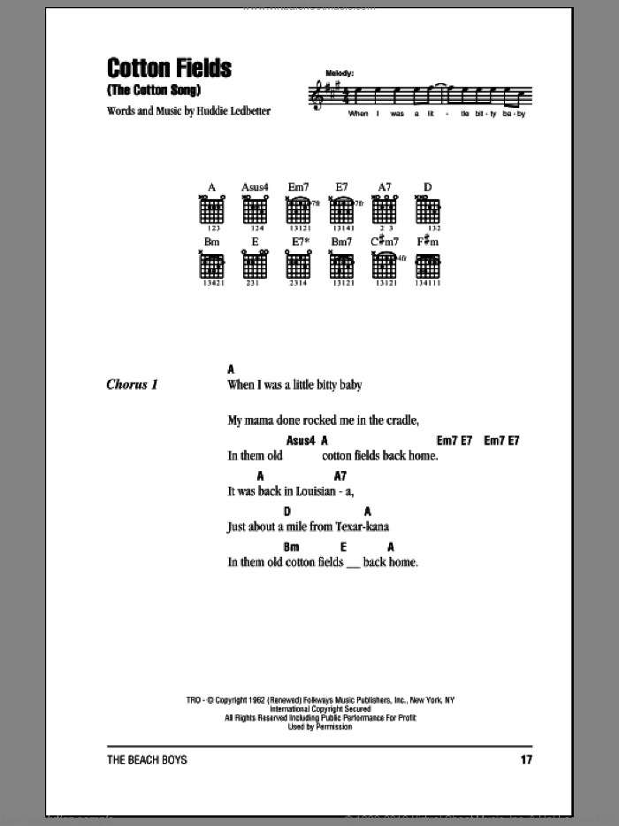 Cotton Fields (The Cotton Song) sheet music for guitar (chords) by The Beach Boys, Creedence Clearwater Revival, Lead Belly, The Highwaymen and Huddie Ledbetter, intermediate skill level