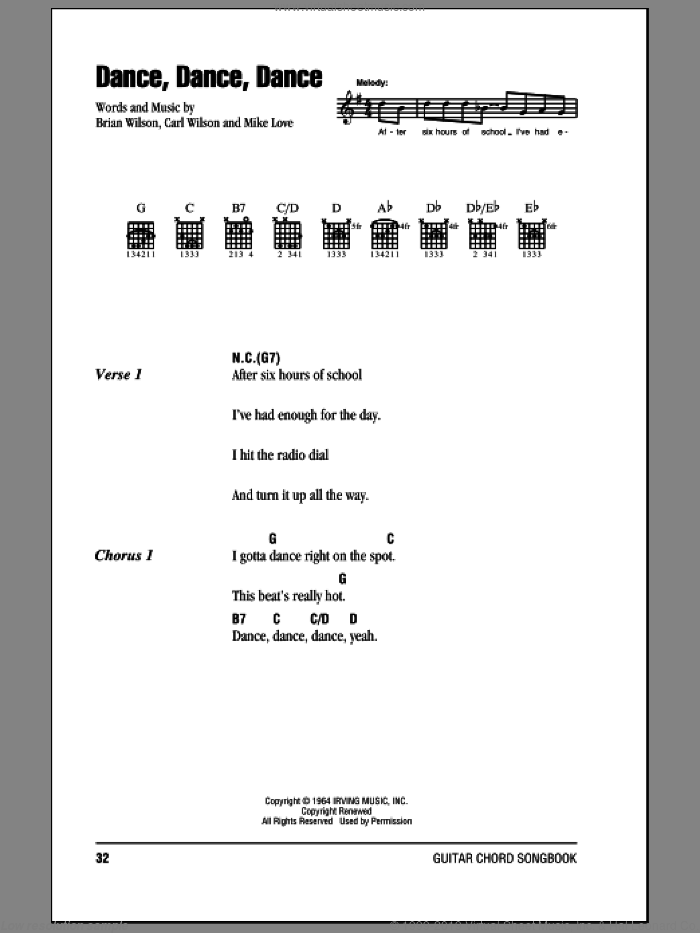 Dance, Dance, Dance sheet music for guitar (chords) by The Beach Boys, Brian Wilson, Carl Wilson and Mike Love, intermediate skill level