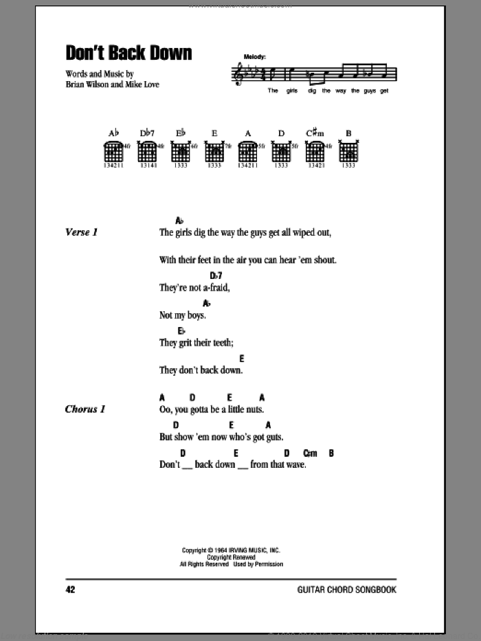 Don't Back Down sheet music for guitar (chords) by Mike Love, The Beach Boys and Brian Wilson. Score Image Preview.