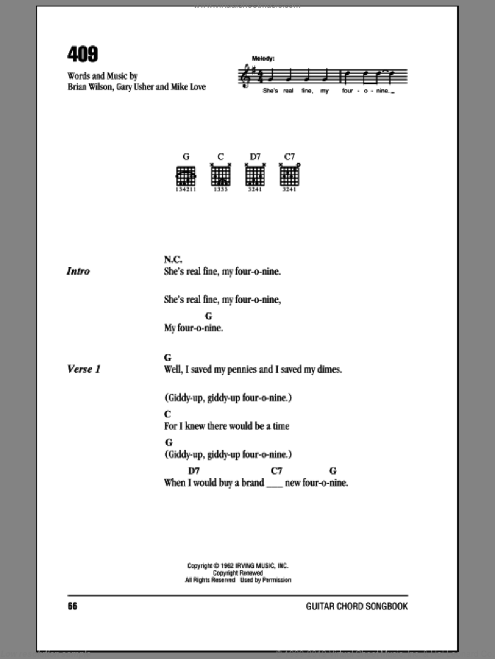 409 sheet music for guitar (chords) by The Beach Boys, Brian Wilson, Gary Usher and Mike Love, intermediate skill level
