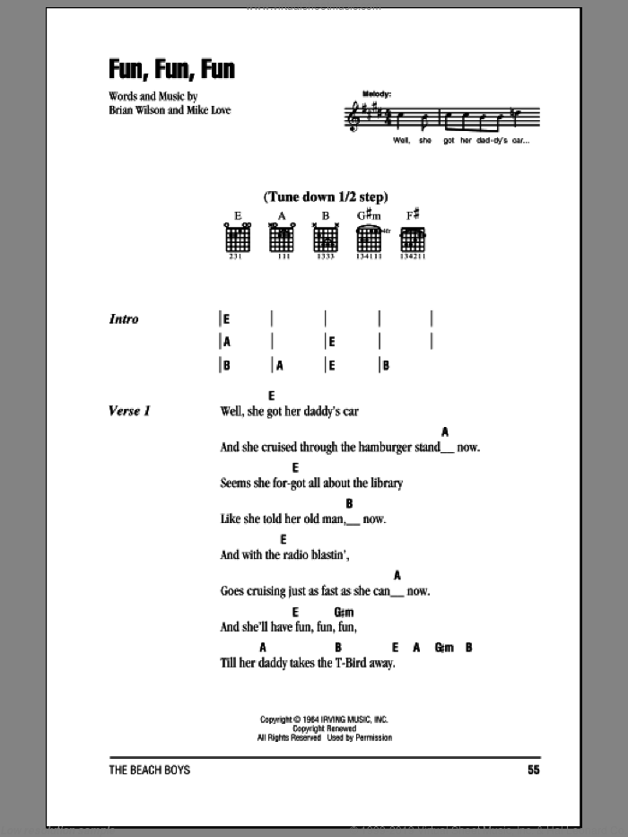 Fun, Fun, Fun sheet music for guitar (chords) by Mike Love, The Beach Boys and Brian Wilson. Score Image Preview.