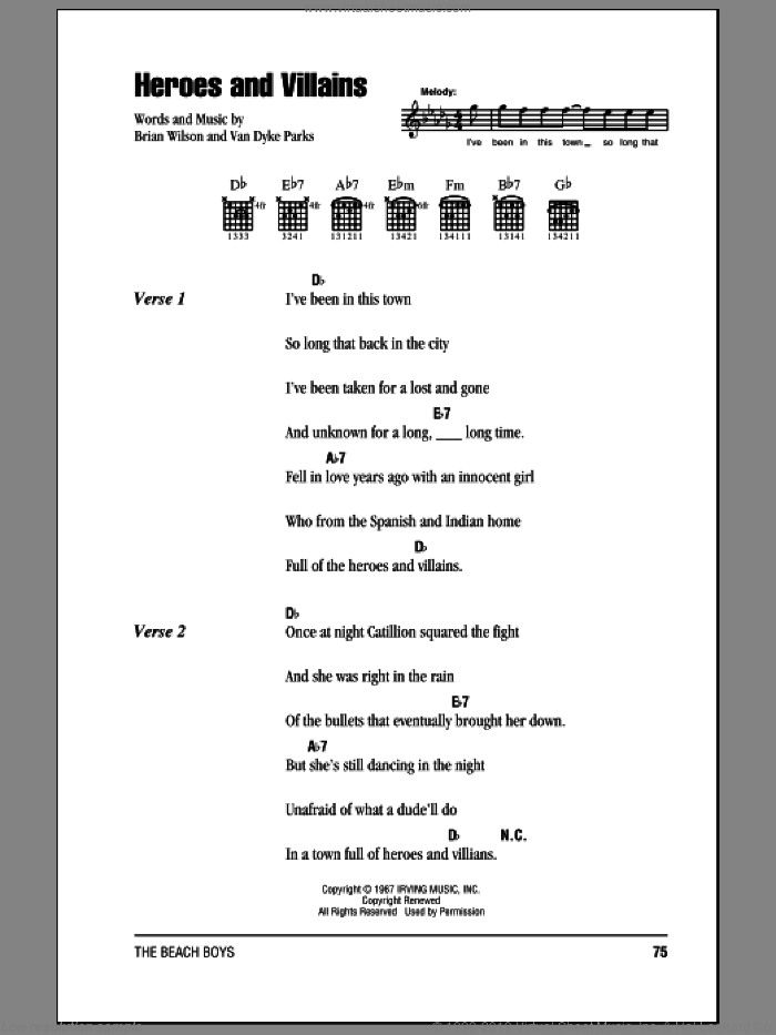 Heroes And Villains sheet music for guitar (chords) by Van Dyke Parks, The Beach Boys and Brian Wilson. Score Image Preview.