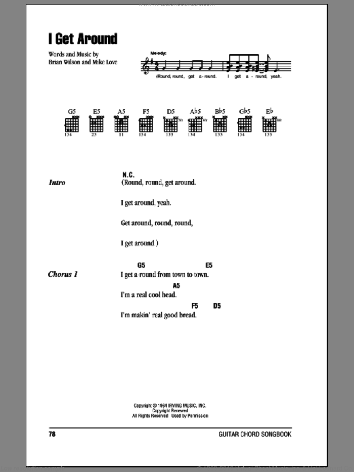 I Get Around sheet music for guitar (chords) by The Beach Boys, Brian Wilson and Mike Love, intermediate