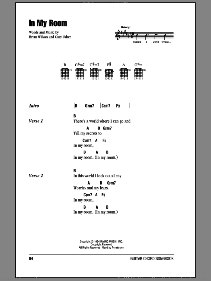 In My Room sheet music for guitar (chords) by Gary Usher, The Beach Boys and Brian Wilson. Score Image Preview.