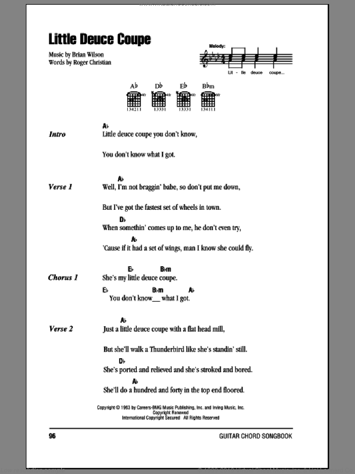 Little Deuce Coupe sheet music for guitar solo (chords, lyrics, melody) by Roger Christian